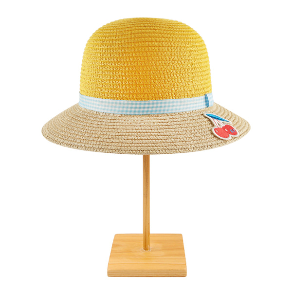 Cherry color block yellow straw hat