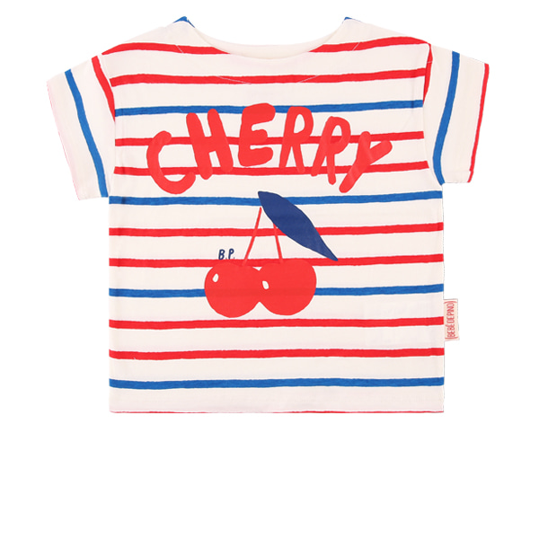 Cherry baby multi stripe short sleeve tee