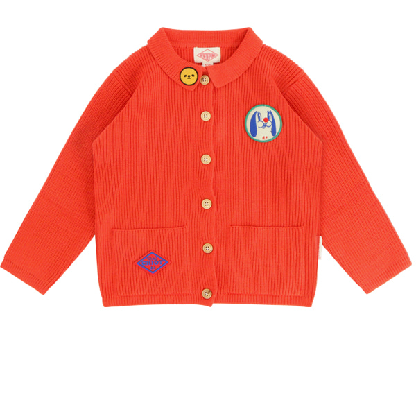 Puppy out pocket scarlet cardigan
