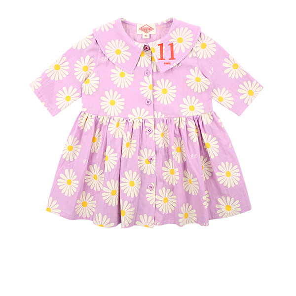Multi daisy baby big collar dress