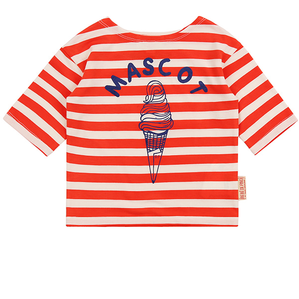 Mascot ice cream baby stripe three-quarter tee_
