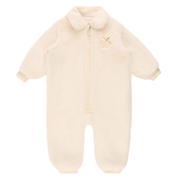 Polar bear baby winter fur overall_