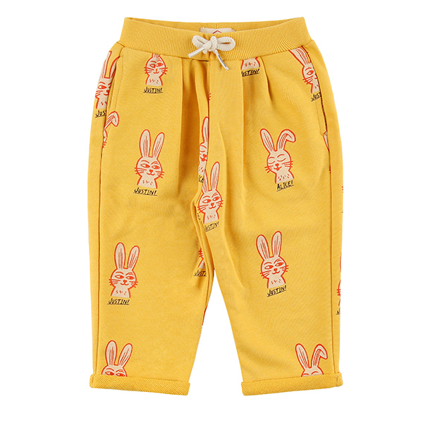 Multi rabbit baby ribbon sweat pants_