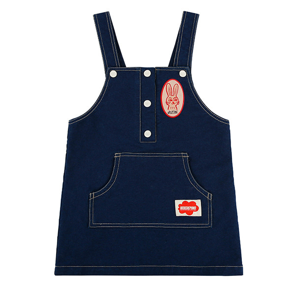 Rabbit jersey denim suspender dress