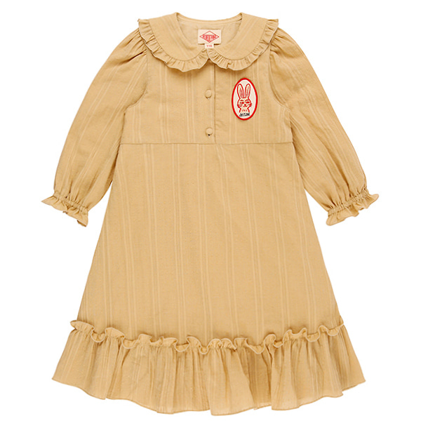 Rabbit frill collar cotton dress