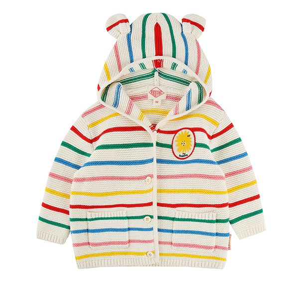 Pompom wappen baby multi stripe sweater cardigan_