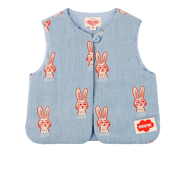 Multi rabbit baby padding vest_