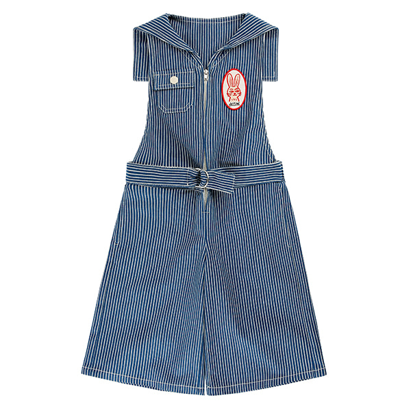 Wow sailor collar over knee length denim overall