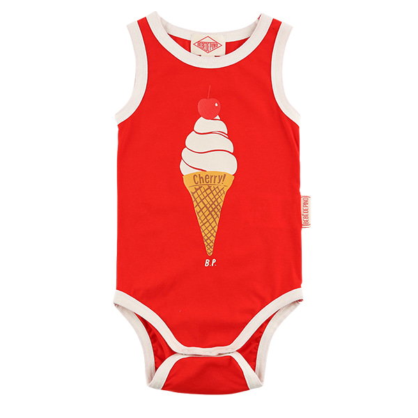Cherry ice cream cone baby sleeveless bodysuit
