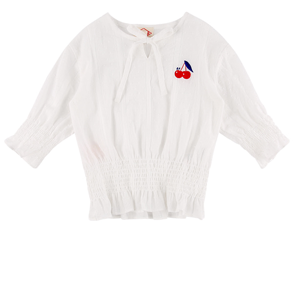 Cherry frill smocking cotton blouse