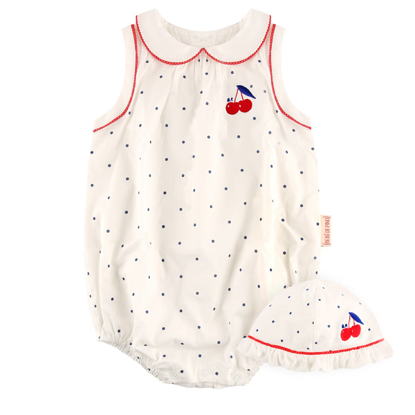 Cherry baby dot suit set