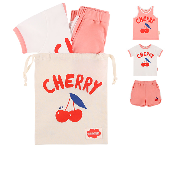 Cherry color block lounge wear set