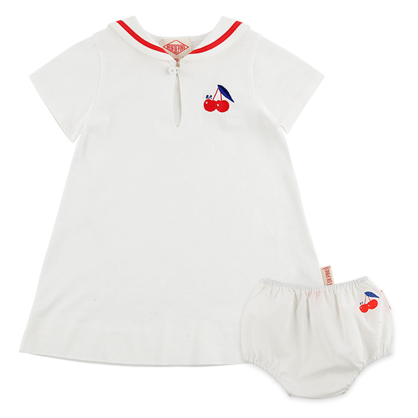 Cherry baby sailor pique dress set