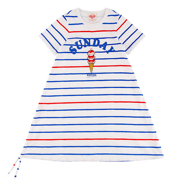 Sunday stripe short sleeve jersey dress