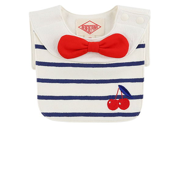 Cherry baby stripe sailor bib