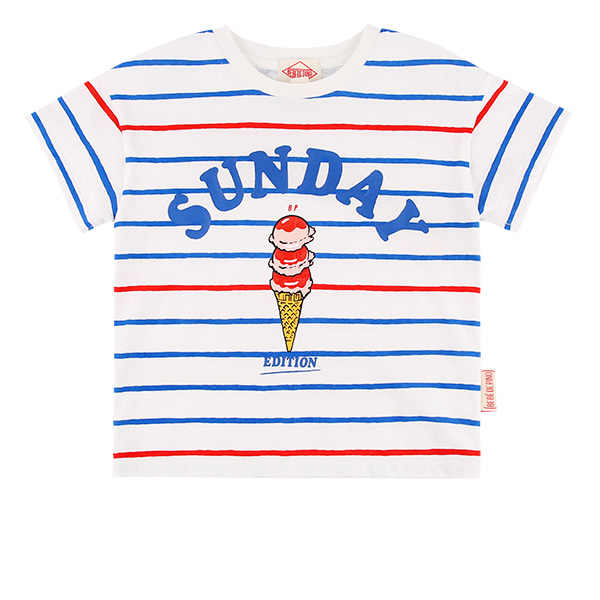 Sunday stripe drop shoulder short sleeve tee