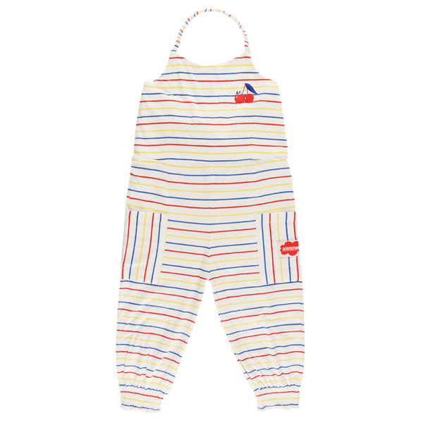 Cherry multi stripe halter overall