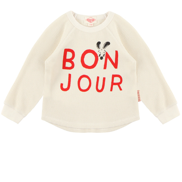 Bonjour waffle cotton long sleeve tee  NEW FALL