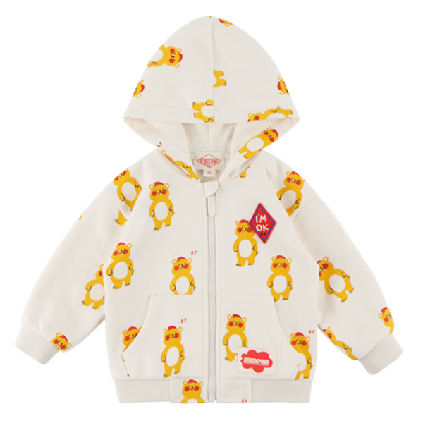 Multi bear baby hood zip up jacket