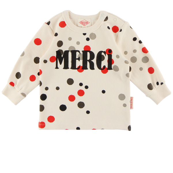 Multi sprinkle dots baby ribbed long sleeve tee