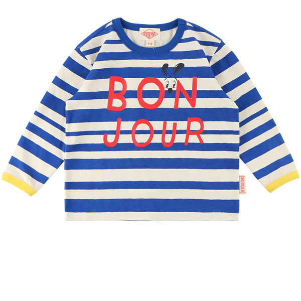 Bonjour stripe long sleeve tee  NEW FALL