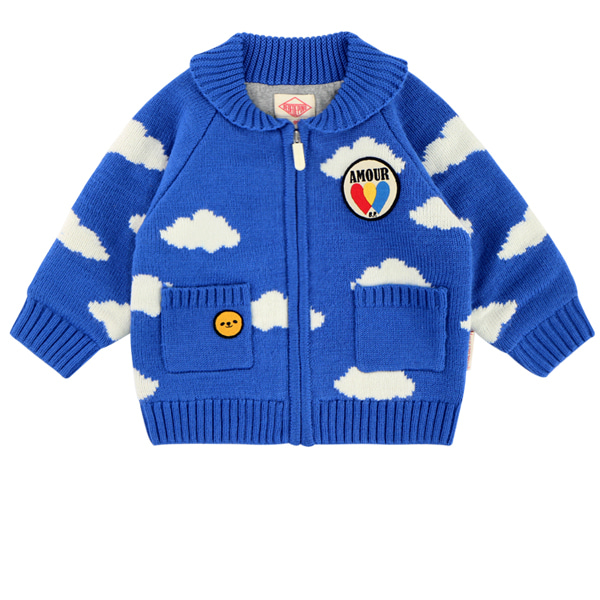 Multi cloud baby shawl collar zip up sweater