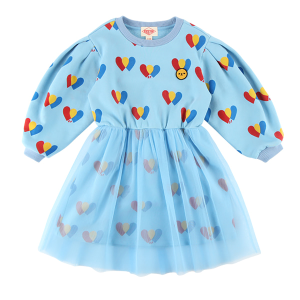 Multi heart puff sleeve tulle dress  NEW FALL