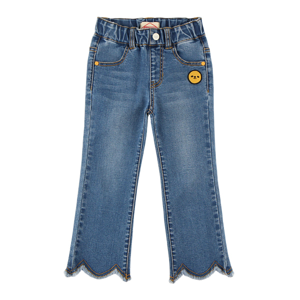 Smile wave cut flared denim pants