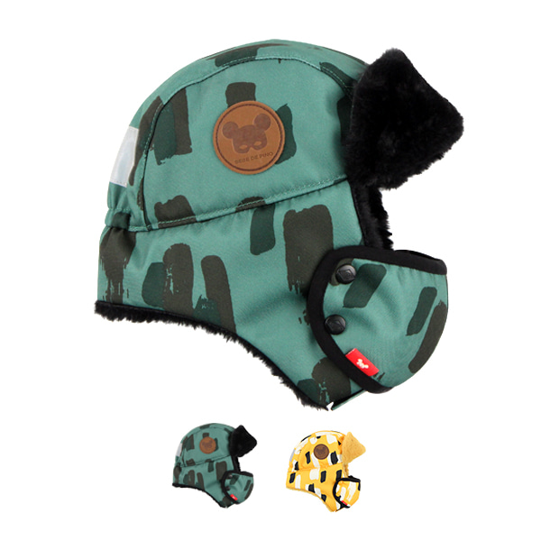 Camo mask aviator hat