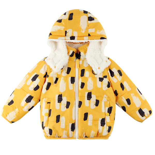 Yellow camo baby reversible fur jumper