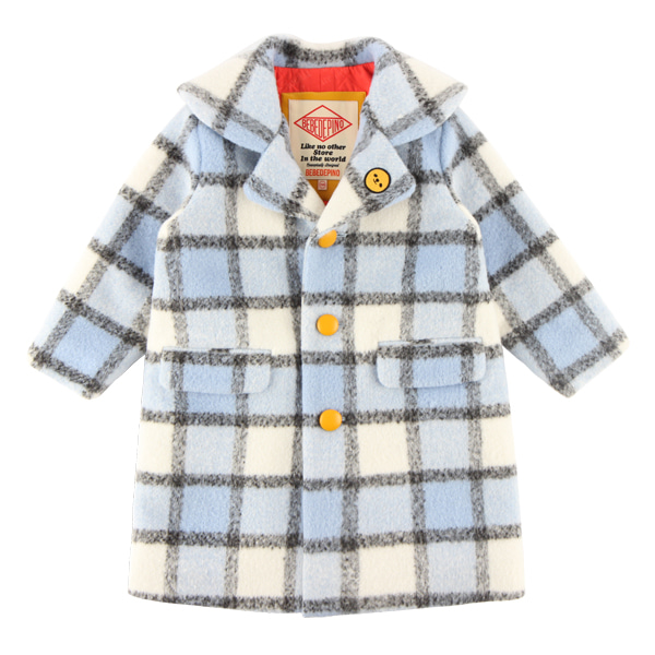 Smile grid check wool coat