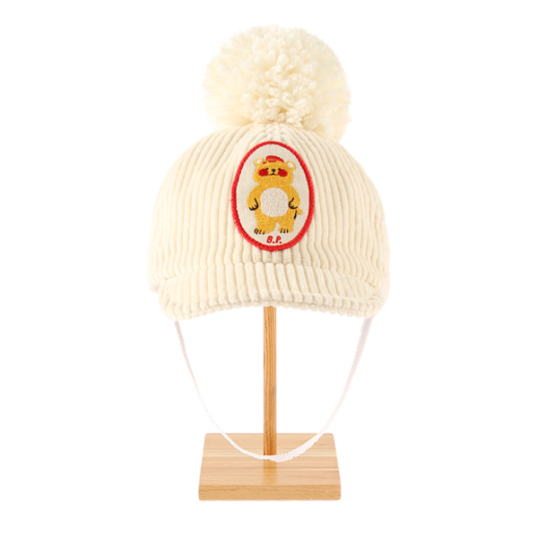 Bear baby corduroy pompom cap  NEW WINTER