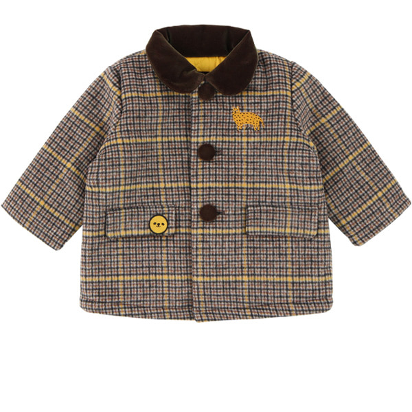 Cheetah baby wool check single coat