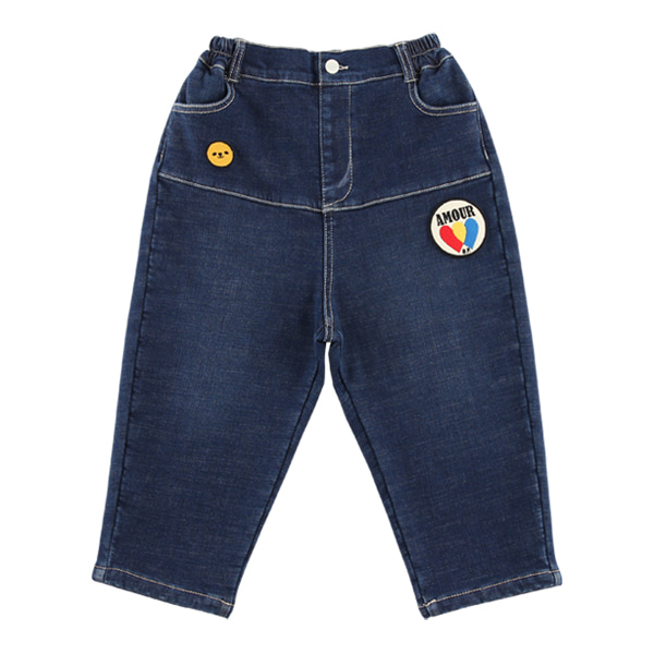 Amour fleece denim baggy pants