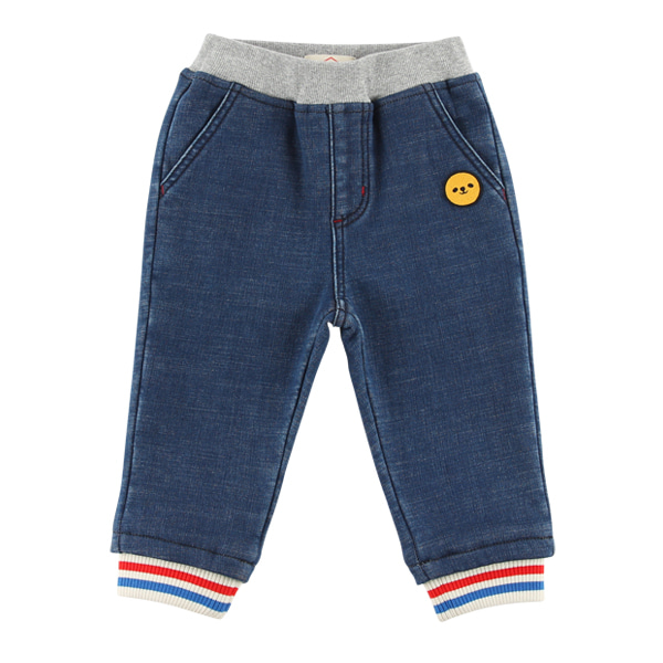 Smile bear baby fleece denim pants