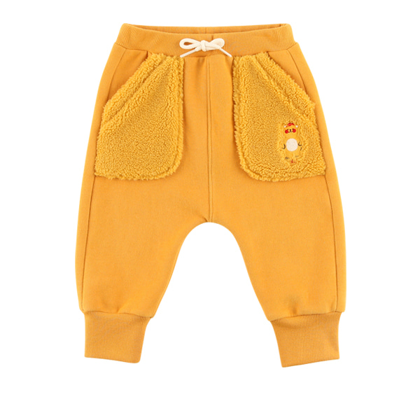 Bear baby fur pocket sweatpants