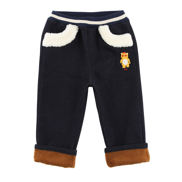 Bear baby fur roll-up denim pants