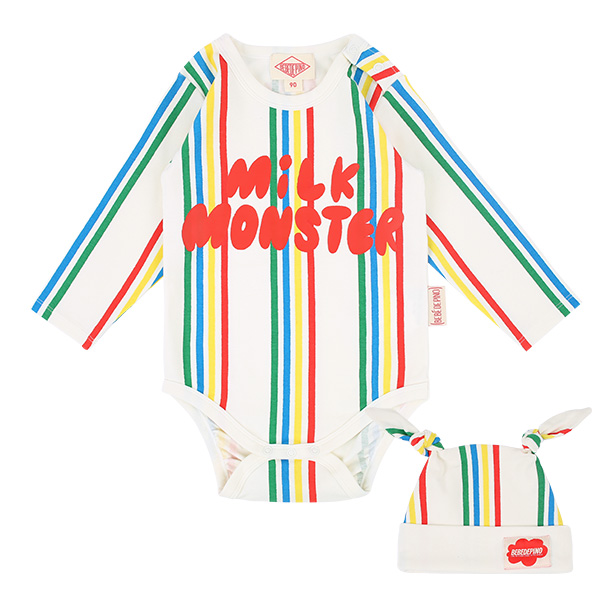 Milk monster baby multi stripe baby bodysuit set  NEW SPRING