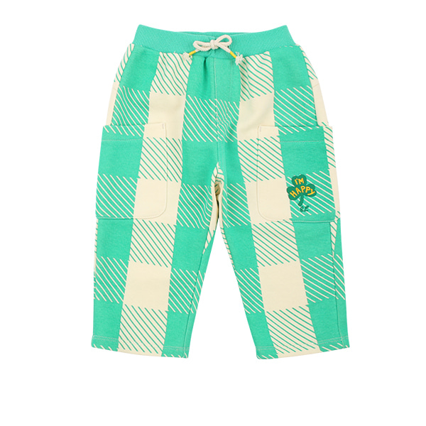 Mint shepherd check baby out pocket pants