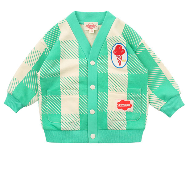 Ice cream baby mint shepherd check cardigan  NEW SPRING