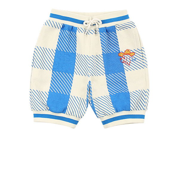 Ducky baby blue shepherd check knee length shorts  NEW SPRING