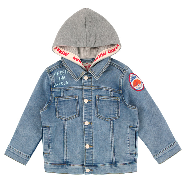 Number 17 jersey denim hooded jacket