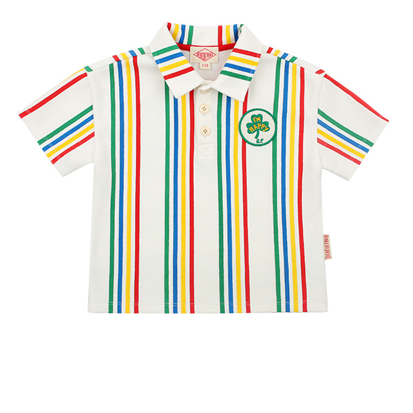 Lucky clover vertical Stripe pique shirt  NEW SUMMER
