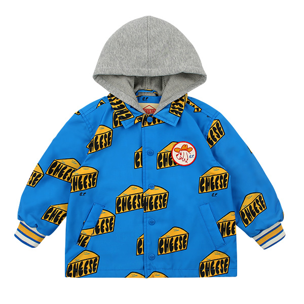 Multi cheese hooded coach jacket