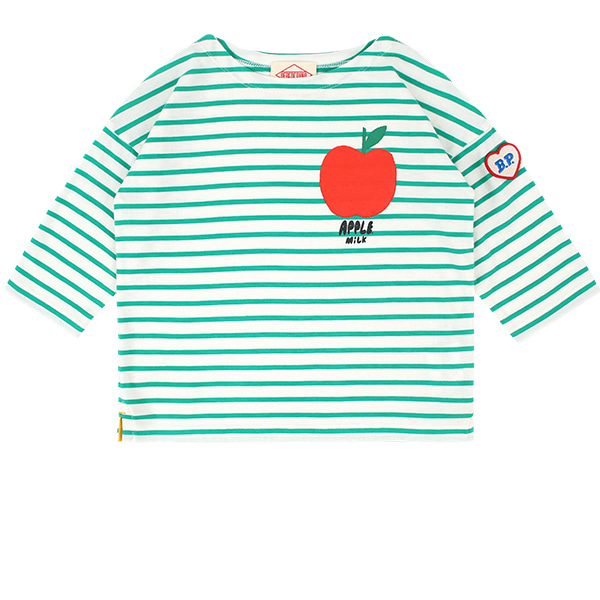 Apple milk Stripe three quarter sleeve tee  NEW SUMMER