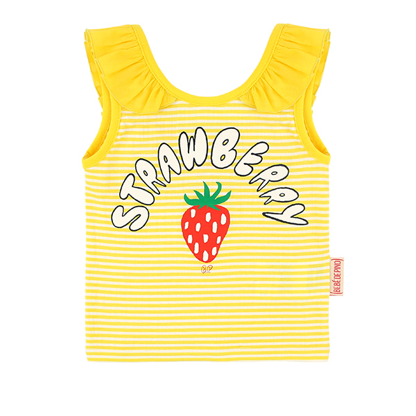 Strawberry baby yellow stripe sleeveless top  NEW SUMMER