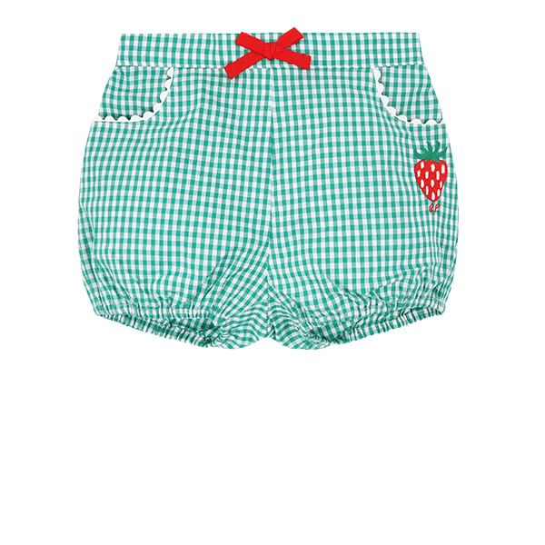Strawberry baby green gingham check short pants  NEW SUMMER