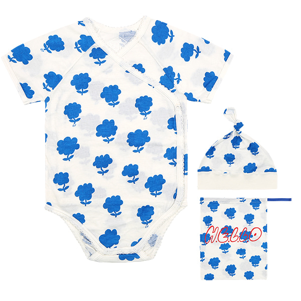All over cloud flower newborn bodysuit set  NEW SUMMER
