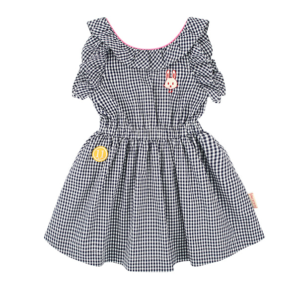 Bunny back point frill gingham check dress  NEW SUMMER