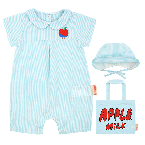 A sour apple newborn seersucker overall set  NEW SUMMER